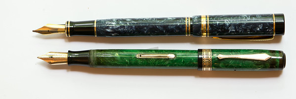 Parker Duofold Centennial (top) compared to an Emerald Green Patrician