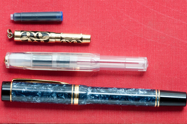 Short international cartridge, Peter Pan pen, Kaweco Sport, and Duofold Centennial,